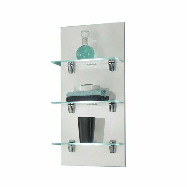 EEK A+, Wandregal Malaga - Hochglanz Weiß - 3 Glasablagen - Mit Beleuchtung, Posseik