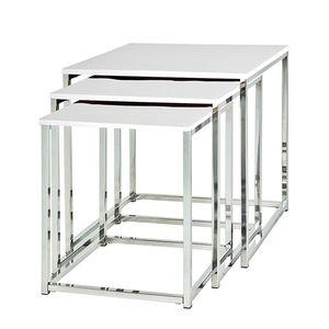 Beistelltisch Robby (3er-Set) - Chrom/Hochglanz Weiß, Home Design