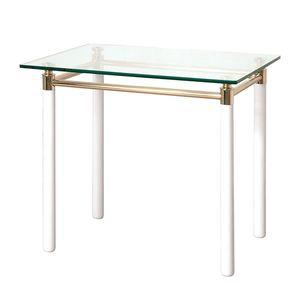 Beistelltisch Moselle III - Stahl/Massivholz - Vergoldet/Hochglanz Weiß, Home Design