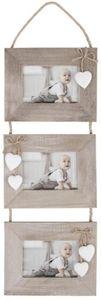 Hänge-Bilderrahmen für 3 Fotos à 15 x 10 cm - aus Holz - 20 x 2,5 x 65 cm