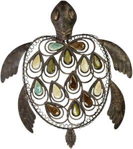 Wanddeko - Schildkröte - aus Metall - 34 x 6 x 38 cm