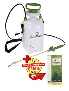 Drucksprühgerät 5 Liter plus Rasen-Unkrautfrei Dicotex 300 ml plus Messing Teleskoplanze 80 - 150 cm
