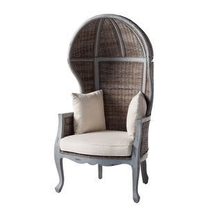 Sessel Moruya - Mango massiv / Rattan - Braun / Grau, Eva Padberg Collection