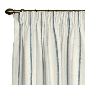 Vorhang mit Kräuselband - Creme/Blau Streifen - 130x310 cm, Dekoria