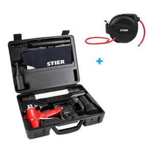 STIER Schlauchtrommel Druckluft SST-15 + STIER Saug- & Blaspistolen-Set umschaltbar