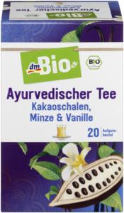 dmBio Früchte- & Kräuter-Tee, Ayurvedischer Tee mit Kakaoschalen, Minze & Vanille (20x2g)