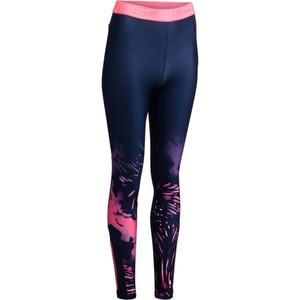 DOMYOS Leggings 500 Fitness Cardio dunkelblau mit rosa Tropical-Prints, Größe: 2XS / W26 L31