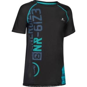 DOMYOS T-Shirt Kurzarm Slim S900 Gym Kinder schwarz mit Print, Größe: 5 J. - Gr. 110