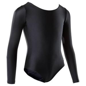 DOMYOS Gymnastikanzug Turnanzug Langarm Simple Fit Kinder schwarz, Größe: 6 J. - Gr. 116