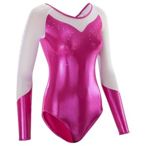 DOMYOS Gymnastikanzug Turnanzug Strass langarm Damen rosa, Größe: 2XS