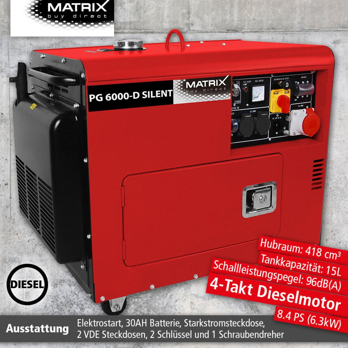 Bild 1 von Matrix Diesel Stromgenerator PG 6000-D-Silent