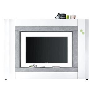 Medienwand Rock Weiß Hochglanz/Absetzung Beton ca. 226 x 163 x 40 cm