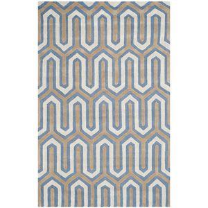 Teppich Leta handgetuftet - Wolle - Weiß / Dunkelblau - 152 x 243 cm, Safavieh