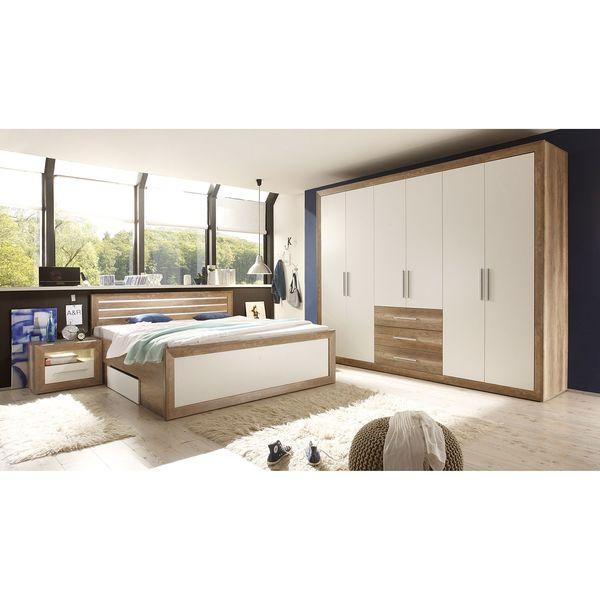 Schlafzimmerset Rachid (4-teilig) - Canyon Oak Dekor / Weiß ...