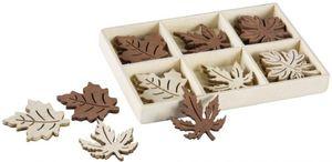 Streudeko - Blätter - aus Holz - 18-teilig