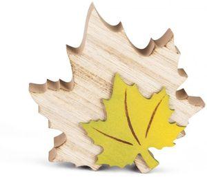 Deko-Blatt - aus Holz - 13 x 11 x 2,5 cm