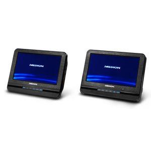 MEDION Portabler DVD-Player mit zwei digitalen 17,7 cm/7'' Displays, 2 x 2 Watt RMS, 7 Soundvoreinstellungen, Hintergrundbeleuchtete Tasten
