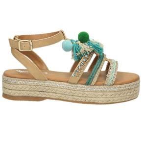 Damen Plateau-Sandale, beige - kombiniert