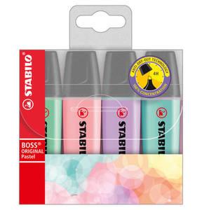 STABILO             Textmarker STABILO® BOSS® ORIGINAL Pastel, Etui mit 4 Stiften