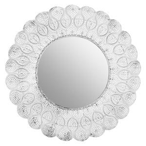 Retro-Metallspiegel weiß 53 cm