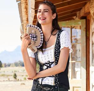 Laura Torelli COLLECTION Damen-Trachtenbluse mit Schnürbändern