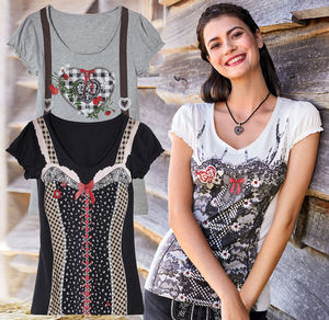 Laura Torelli COLLECTION Damen-T-Shirt mit verführerischem Trachten-Motiv