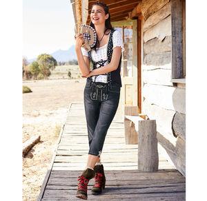 Laura Torelli COLLECTION Damen-Trachtenjeans mit schöner Stickerei