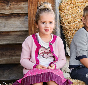 Kids Kinder-Mädchen-T-Shirt mit großem Herz-Motiv