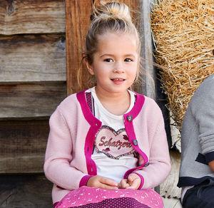 Kids Mädchen-Strickjacke mit Knöpfen in Hirschhorn-Optik
