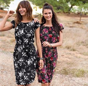 Laura Torelli COLLECTION Damen-Kleid mit wunderschönen Blumen-Bouquets