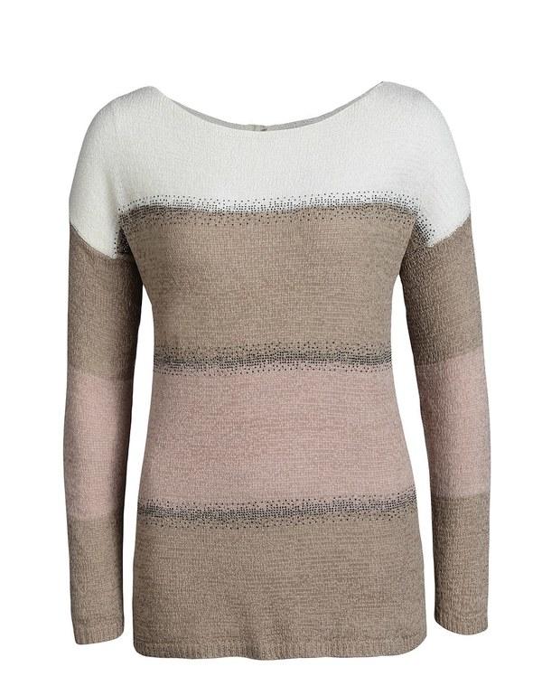 PUNT ROMA - Bändchengarn-Pullover im Color-Block-Look