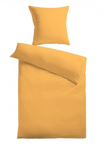 Baumwoll-Satin Bettwäsche Uni 80 x 80 + 155 x 220 cm, Farbe gelb