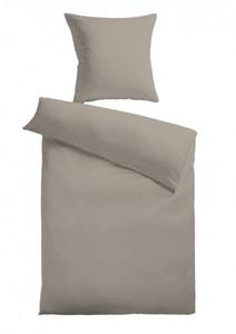 Baumwoll-Satin Bettwäsche Uni 80 x 80 + 155 x 220 cm, Farbe grau
