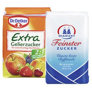Diamant Feinster Zucker, Gelierzucker 3:1 oder Dr. Oetker Gelierzucker extra 2:1 jede 500/1000-g-Packung