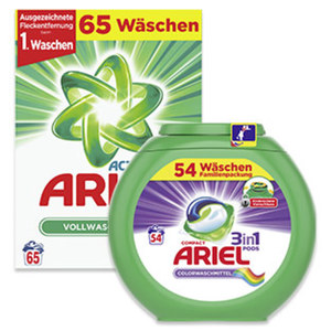 Ariel Waschmittel 54/65 Waschladungen, versch. Sorten, jede Packung
