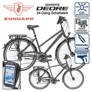 Alu-Trekkingrad Silver 5.0 28er - Schalt-/Bremshebel - Alu-V-Bremsen - verstellbarer Alu-Lenkervorbau - Rahmenhöhe: Damen 48 cm, Herren 52 cm, je