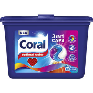 Coral Colorwaschmittel optimal color 3in1 Gel Caps 18 WL 0.18 EUR/1 WL
