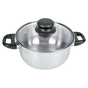 Edelstahl-Kochtopf mit Glasdeckel 18cm