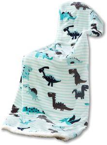 Kinder Kuscheldecke - Dino Stripes Aqua Grey