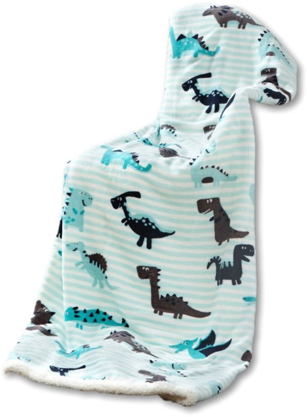 Kinder Kuscheldecke - Dino Stripes Aqua Grey