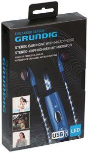 Grundig Stereo Kopfhörer mit Mikrofon und Beleuchtung- Blau