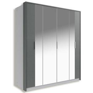 Falt- und Drehtürenschrank BERLIN - Alu-graphit - 180 cm breit