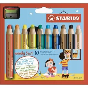 STABILO - Buntstifte: Woody 3-in-1 mit Spitzer, 10-tlg.