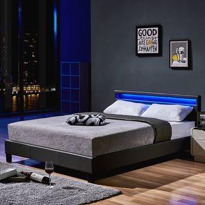 Home Deluxe LED Bett Astro 140x200 Dunkelgrau