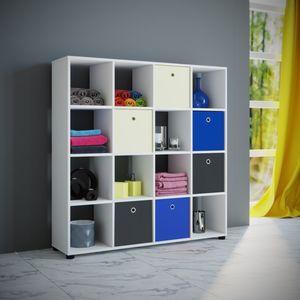 VCM Regal Benas 4x4 in weiß, inkl. 6 Textil-Boxen