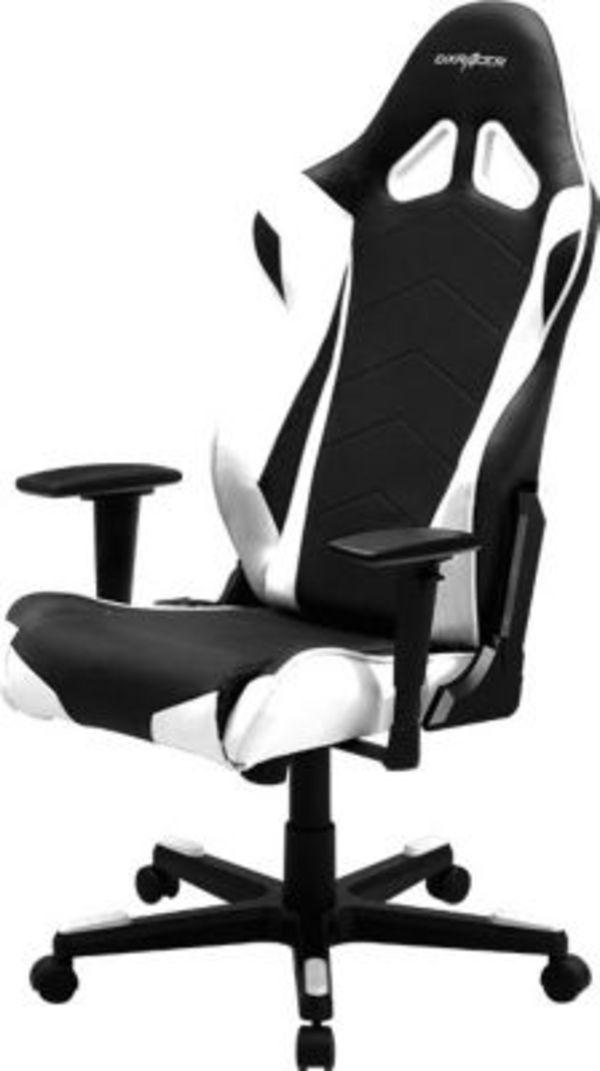 dxracer racing oh re0 nw r serie schwarz wei von plus. Black Bedroom Furniture Sets. Home Design Ideas
