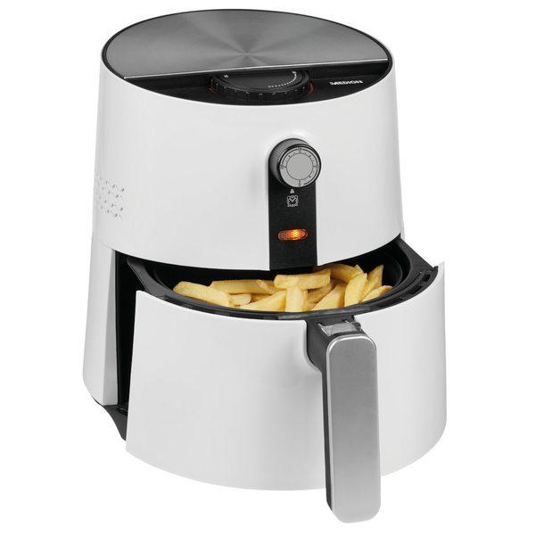MEDION Heißluftfritteuse MD 17769, ölfreies Frittieren, 1300 Watt, Temperaturkontrolle bis 200°C, Cool-Touch-Griff