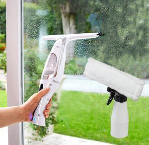 Elektrischer Fensterreiniger inklusive Sprühflasche und Mikrofasertuch