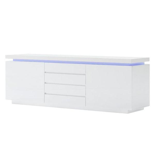 EEK A+, Sideboard Emblaze VIII (inkl. Beleuchtung) - Hochglanz Weiß, Fredriks