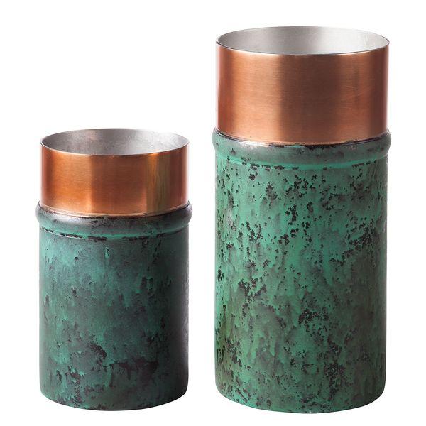 Vase Oxidise I 2 Teilig Stahl Gold Grün Eva Padberg